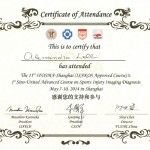 Attestato pertecipazione 11th IFOSMA Shanghai